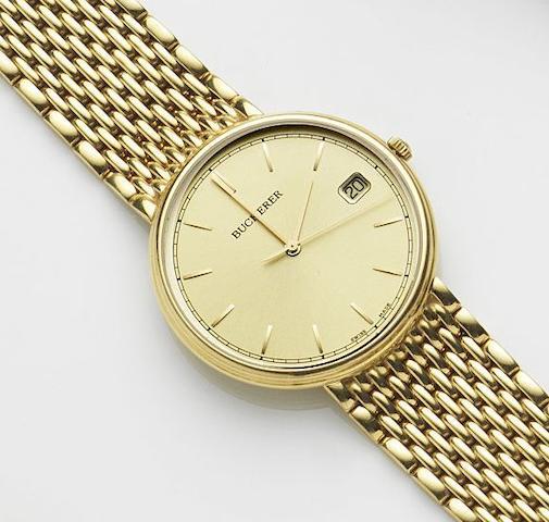 Bucherer. An 18ct gold quartz calendar bracelet watch Ref:1287, Case No.255-119, Movement No.255 111, Circa 1980