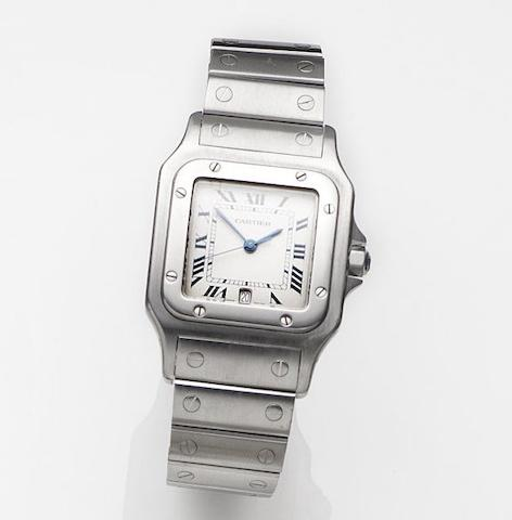 Cartier. A stainless steel quartz calendar bracelet watch Santos, Ref:1564, Case No.0022****, Circa 2000