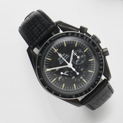 Omega. A DLC coated stainless steel manual wind chronograph wristwatch Speedmaster, Ref:145.022, Movement No.32207234, Circa 1970