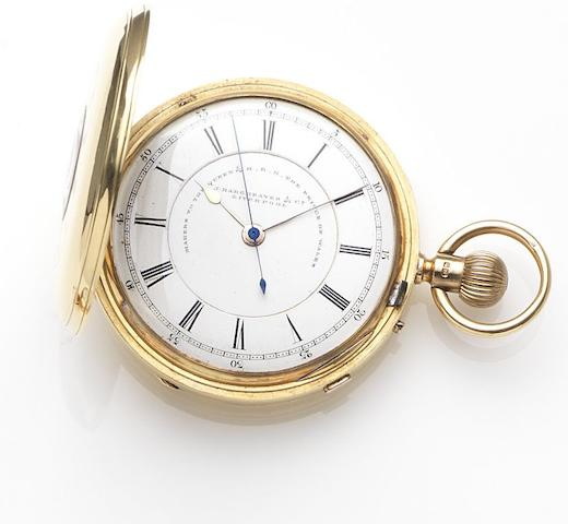 John Hargreaves & Company, Liverpool. An 18ct gold keyless wind centre seconds half hunter pocket watch Case and Movement No.53130, Chester Hallmark for 1892