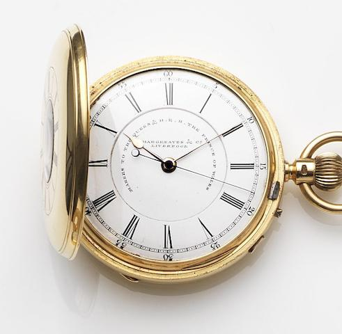 John Hargreaves & Company, Liverpool. An 18ct gold keyless wind centre seconds half hunter pocket watchCase and Movement No.52714, Chester Hallmark for 1892