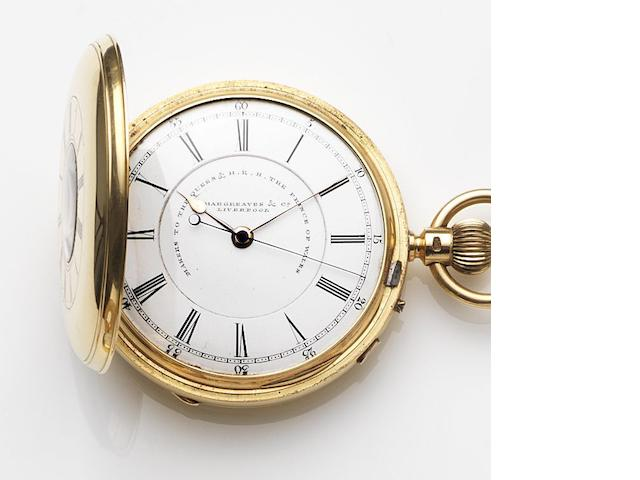 John Hargreaves & Company, Liverpool. An 18ct gold keyless wind centre seconds half hunter pocket watch Case and Movement No.52714, Chester Hallmark for 1892