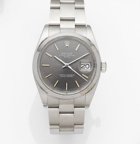 Rolex. A stainless steel automatic calendar bracelet watch Date, Ref:1500, Case No.439****, Movement No.D58****, Circa 1975