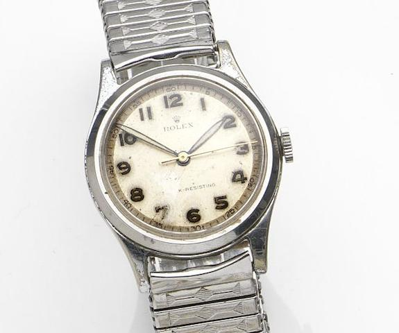 Rolex. A stainless steel manual wind bracelet watch Ref:1249, Case No.12325, Circa 1950