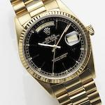 Rolex. An 18ct gold automatic bracelet watch Day-Date, Ref:18038, Case No.958****, Movement No.169****, Circa 1987