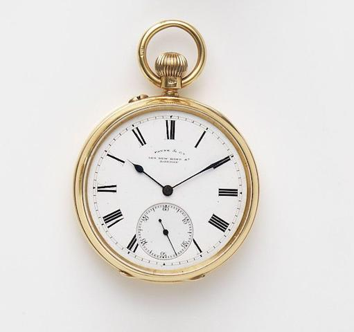 Payne & Co, London. An 18ct gold keyless wind open face pocket watch Case No.26557, Movement No.6727, London Hallmark for 1900