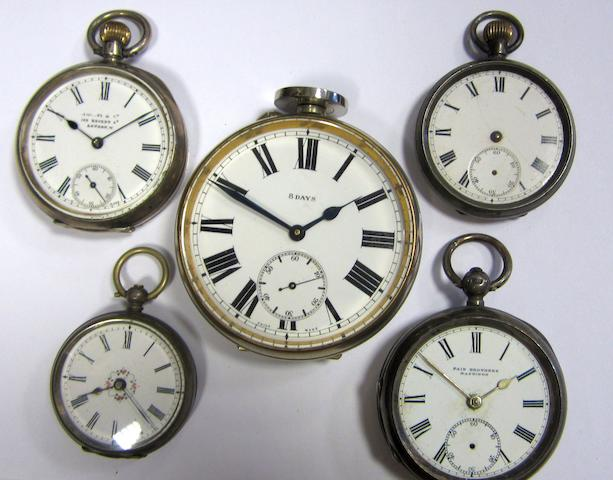 A lot of five various pocket watches