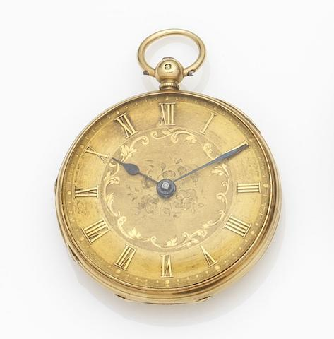 Unsigned. An 18ct gold key wind open face pocket watchMovement No.2607, London Hallmark for 1856