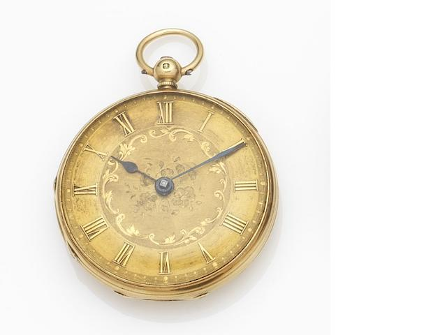 Unsigned. An 18ct gold key wind open face pocket watch Movement No.2607, London Hallmark for 1856