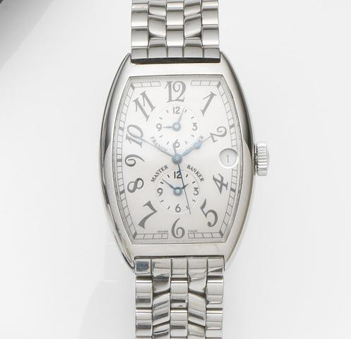 Franck Muller. A stainless steel automatic triple-time zone calendar bracelet watchMaster Banker, Ref:5850 MB, Case No.570, Circa 2005