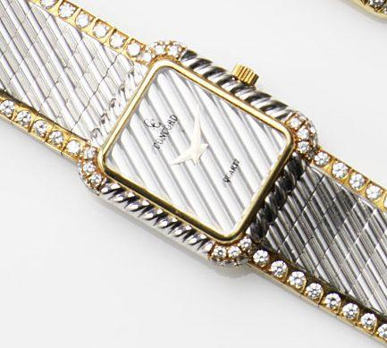 Concord. An 18ct white and yellow gold diamond set quartz bracelet watchRef:56.61.632, Case No.645408, Movement No.979 001, Circa 1975