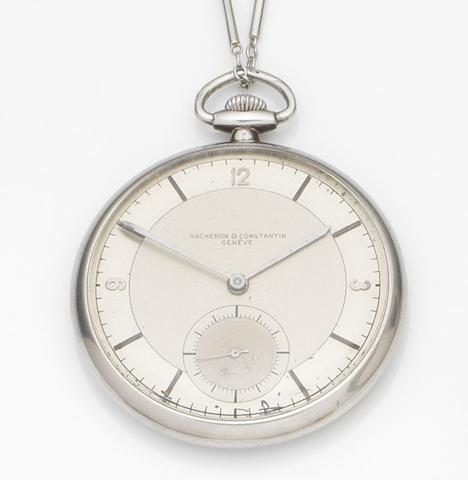 Vacheron & Constantin. A platinum keyless wind open face pocket watch Case No.254789, Movement No.407430, Circa 1900