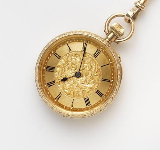 Benson. An 18ct gold keyless wind open face pocket watch with 9ct chain, box and paperworkCase and Movement No.1106980, Circa 1900