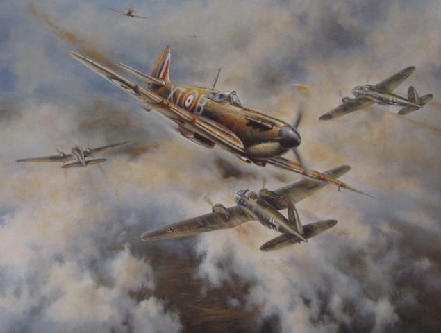 Three prints depicting Supermarine Spitfire fighter aircraft,