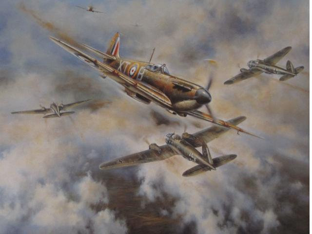 Three prints depicting Supermarine Spitfire fighter aircraft,