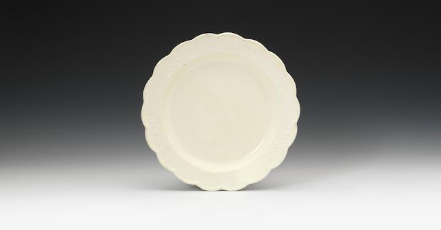 A rare commemorative creamware plate, circa 1780