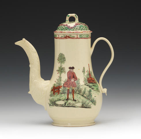 A fine creamware coffee pot and cover, circa 1760-70