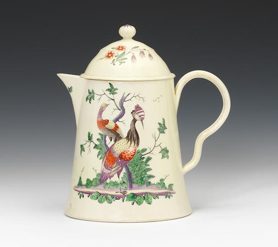 A creamware chocolate pot with two covers, circa 1770