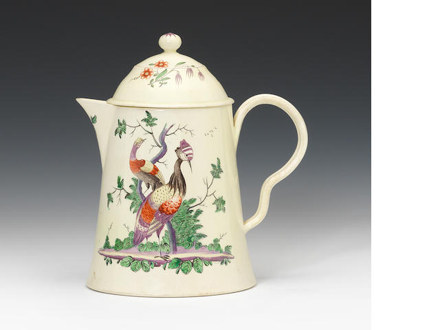 A creamware coffee pot with two covers