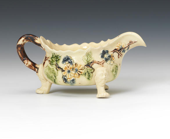 An early creamware sauceboat, possibly Isleworth