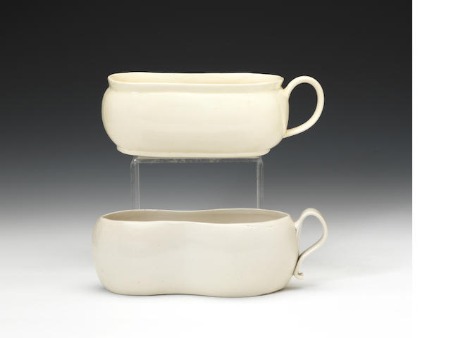 A rare white saltglazed bourdaloue and a creamware bourdaloue, circa 1760-1780