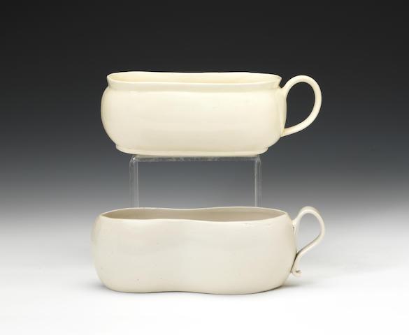 A rare white saltglaze bourdaloue and a creamware bourdaloue, circa 1760 and 1780