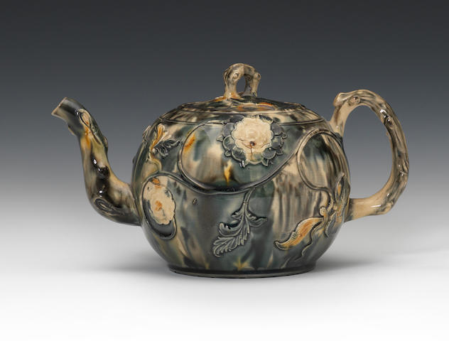 A large Staffordshire lead-glazed teapot and cover