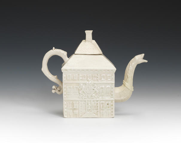 A saltglaze house teapot and cover
