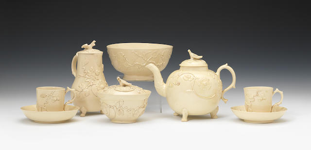 A rare early Staffordshire creamware tea and coffee service, circa 1750-55