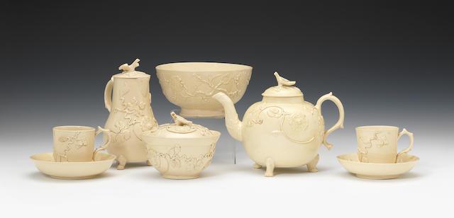A rare early Staffordshire creamware tea and coffee service, circa 1750-55