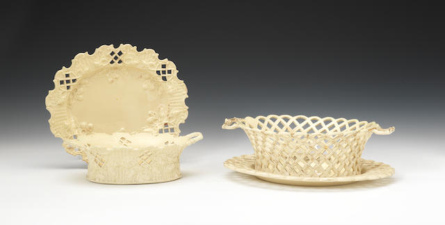 Two creamware baskets and stands, circa 1760