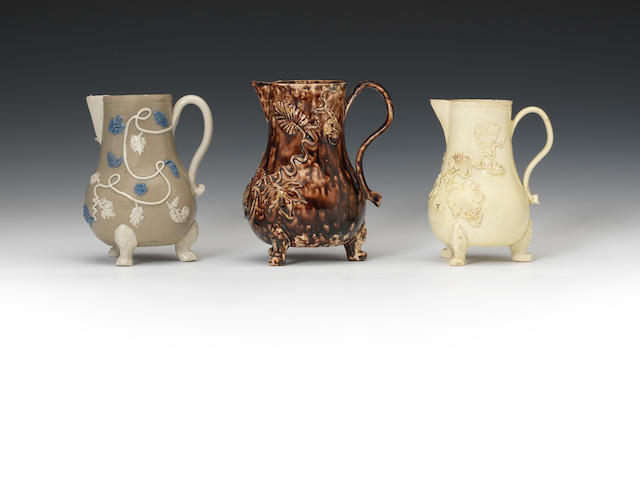 Three milk jugs, circa 1750-60