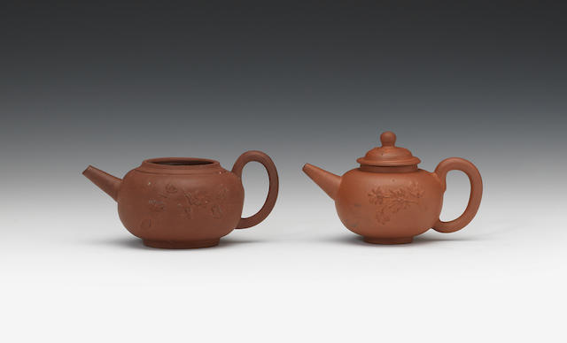 A Dutch demilled redware teapot and a miniature English example with cover