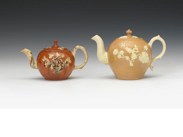 Two Staffordshire earthenware teapots and covers, circa 1750