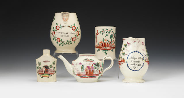 Five pieces of creamware, one dated 1785