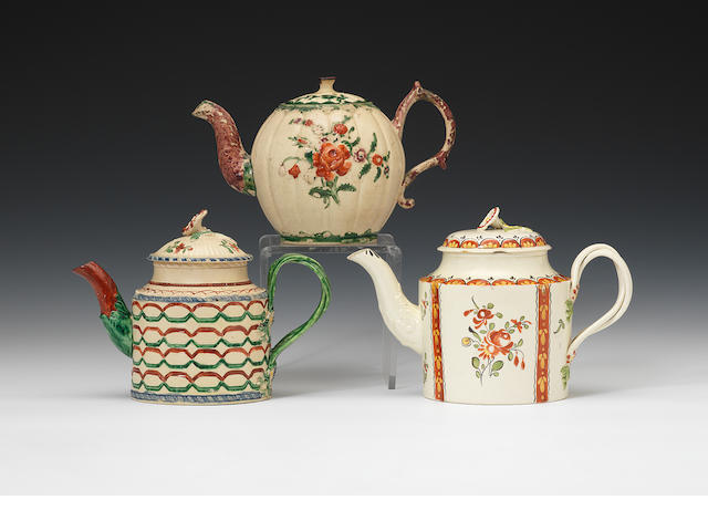 Three varius teapots and covers