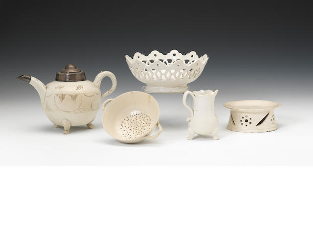 Five pieces of Staffordshire white saltglaze, circa 1740-70