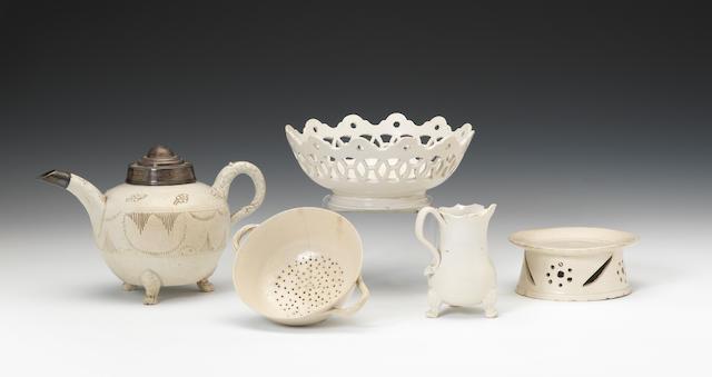Five pieces of Staffordshire white saltglaze, circa 1740-70