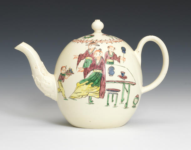 A creamware teapot and cover, circa 1765