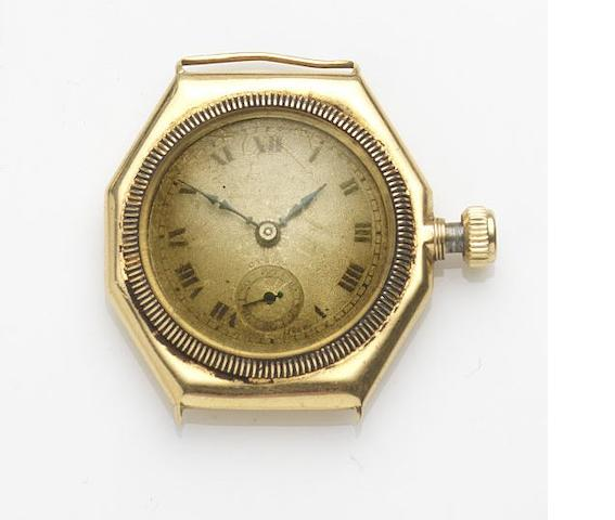 Rolex. An 18ct gold manual wind watch head Case No.34306, Glasgow Hallmark for 1926