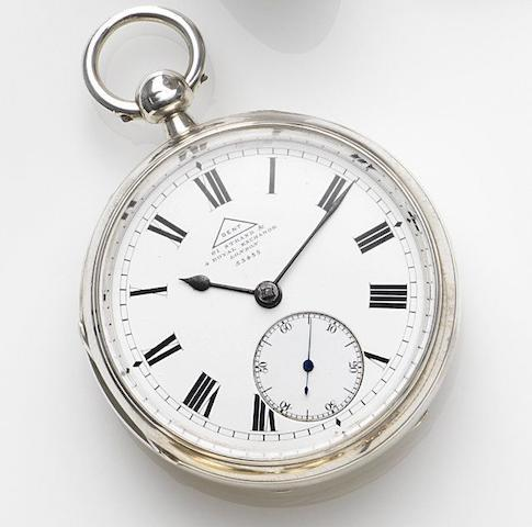 Dent, Strand & Royal Exchange, London. A silver key wind open face pocket watch Case and Movement No.55455, London Hallmark for 1906