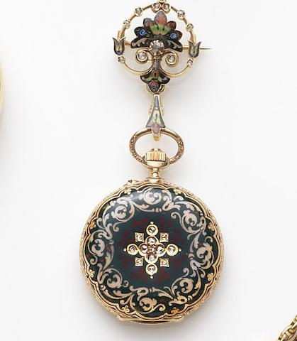 B. Haas Jeune, Geneva & Paris. An 18ct gold, enamel and stone set keyless wind fob watchCase and Cuvette No.21222, Circa 1890