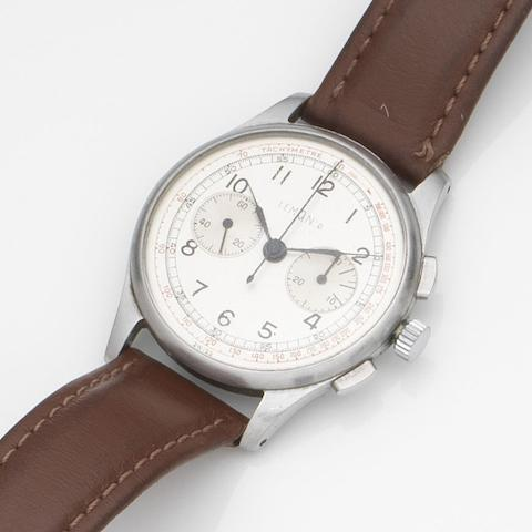 Lemania. A stainless steel manual wind chronograph wristwatchMovement No.262913, Circa 1960