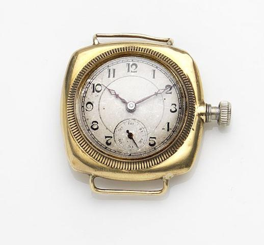 Rolex. An 18ct gold manual wind watch headCase No.20495, Circa 1915