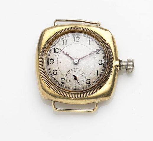 Rolex. An 18ct gold manual wind watch head Case No.20495, Circa 1915
