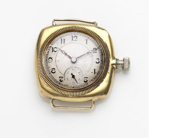 Rolex. An 18ct gold manual wind watch head Case No.20495, Circa 1915