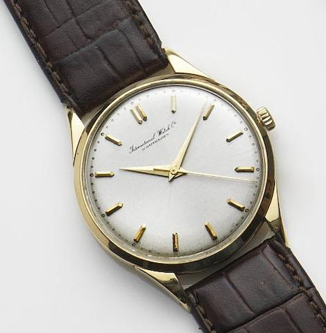 IWC. An 18ct gold manual wind centre seconds wristwatchMovement No.1434461, Circa 1955