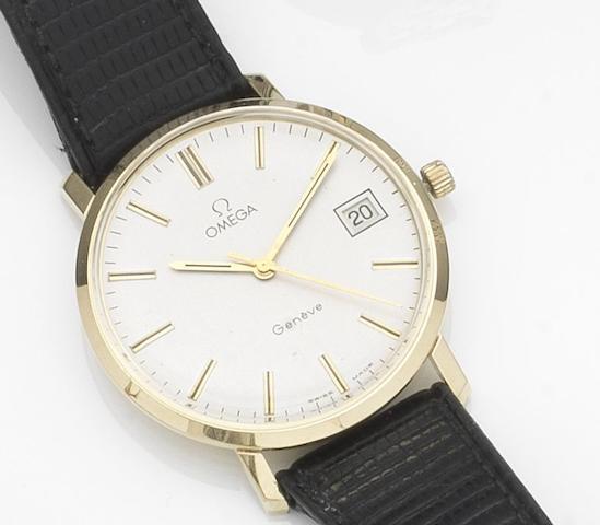 Omega. A 14ct gold manual wind calendar wristwatchCase No.1329051, Movement No.41 204660, Circa 1978