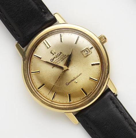 Omega. An 18ct gold automatic calendar wristwatch Constellation, Ref:1685004, Movement No.23887513, London Hallmark for 1967