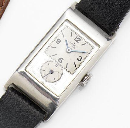Rolex. A silver manual wind wristwatch Prince, Ref:1343A, Case No.07511, Movement No.75087, Glasgow Hallmark for 1930